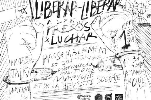 RASSEMBLEMENT MERCREDI 1er JUILLET 2020 FACE À L'AMBASSADE DU CHILI, À PARTIR DE 17h30